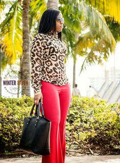Curves and Confidence   trouser pants in red w/ cheetah print blouse