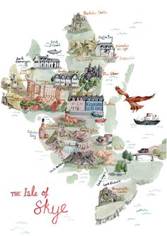 The Isle of Skye, an Illustrated Map – Hire an Illustrator Scotland Map, Scotland Road Trip, Scotland Vacation, Scotland Travel, Ireland Travel, Travel Maps, Places To Travel, Isle Of Skye Map, Map Illustrations