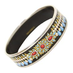 HERMES Black Enamel Bangle W/Blue and White Designs RT $635 | From a unique collection of vintage bangles at https://www.1stdibs.com/jewelry/bracelets/bangles/