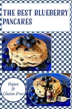 Gluten Free Blueberry, Vegan Gluten Free, Gluten Free Recipes, My Recipes, Vegan Vegetarian, Vegan Pancakes, Blueberry Pancakes, Breakfast Recipes, Cooking
