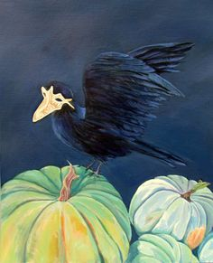 Halloween card crow 5x7 Hand Mounted Hand by DreaminOfDragonflies