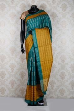 Sea #blue & golden #yellow pure #tussar silk weaved admirable #saree with sea blue & gold border-SR12504