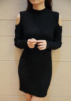 Cutout Cotton Knit Dress - Cutout At Shoulders Dress