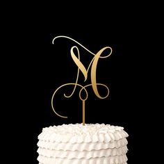 Single Letter Monogram Wedding Cake Topper with your Initial - Fairytale Collection Letter Cake Toppers, Monogram Cake Toppers, Wedding Cake With Initials, Monogram Wedding, Wedding Cake Toppers, Wedding Cakes, Beach Cake Topper, Beach Cakes, Wedding Decorations