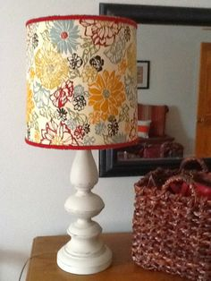 Plain Jane :lamp rehab Thrift store lamp. Base painted w chalk paint, shade recovered in fabric