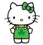 Hello Kitty in shamrock overalls