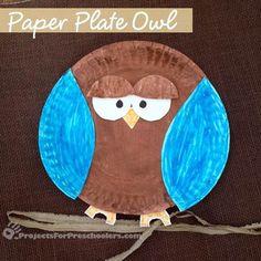 Paper plate owl craft for kids. #preschool #kidscrafts (repinned by Super Simple Songs)
