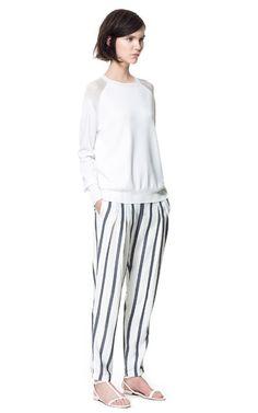 WIDE STRIPE TROUSERS - Trousers - Woman | ZARA United States