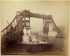 London, England - Tower Bridge construction vintage photographs just discovered. Story covered by Telegraph.