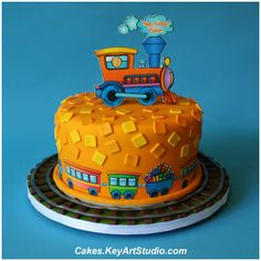 A small Birthday cake for a boy who loves his toy trains. 20 servings of Golden Yellow Butter Cake filled with White Chocolate Cream Cheese Buttercream. Fancy Cakes, Cute Cakes, Small Birthday Cakes, Birthday Ideas, Birthday Parties, Yellow Butter Cake, Thomas Cakes, Cakes For Boys, Boy Cakes