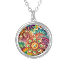 New Colorful Abstract BackGround Silver Plated Necklace - jewelry jewellery unique special diy gift present