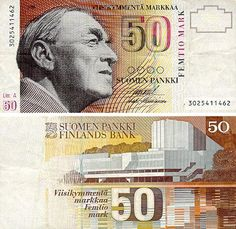 Alvar Aalto on the Finnish 50 markkas, the money before euros. What an awesome way to honor a creative genius!