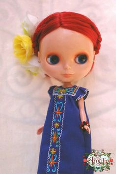 Blue Mexican Embroidery Maxi dress for Blythe...