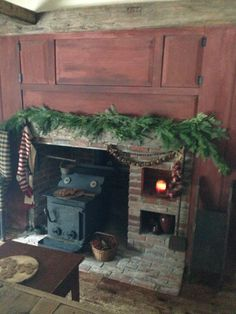 Primitive Christmas Hearth in our kitchen