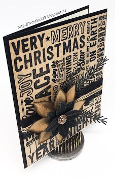 card christmas poinsettia Linda Vich Creates: Merry Medley in Rustic Tones. Dramatic Christmas card created by pairing the Merry Medley stamp in black with Kraft card stock, accompanied by a poinsettia and pine sprigs. Christmas Cards 2017, Christmas Card Crafts, Stampin Up Christmas, Christmas Photo Cards, Xmas Cards, Handmade Christmas, Holiday Cards, Christmas Paper, Rustic Christmas