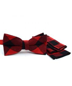 9c6d4cbfc103 Men's Red and Black Plaid Bow Tie and Matching Pocket Square - CB18DRWZWIO  #TieSets #