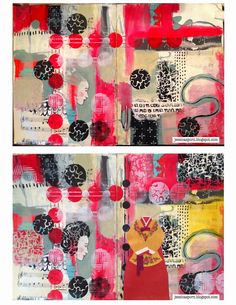 Mixed Media Art Journal page by Jessica Sporn using the March StencilClub stencils from StencilGirl.
