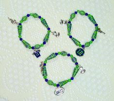 Paper Bead Bracelets, Handmade Jewelry Set of 3 Seattle Seahawks by ThePaperBeadBoutique on Etsy