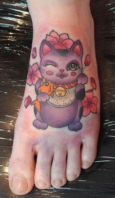 ... Tattoo Foot Tagged as: personal. tattoo. maneki neko. money cat. foot