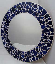 'Turtle Blue' Hand Made Round Mosaic Wall Mirror £60.00