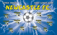 Newcastle B53609  digitally printed vinyl soccer sports team banner. Made in the USA and shipped fast by BannersUSA.  You can easily create a similar banner using our Live Designer where you can manipulate ALL of the elements of ANY template.  You can change colors, add/change/remove text and graphics and resize the elements of your design, making it completely your own creation.