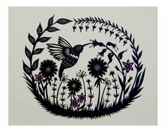 Hummingbird Garden - Cut Paper Art Print