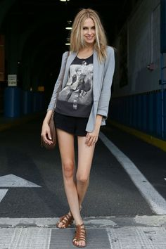 slaying it in short shorts and a rocker tee. awesome #offduty.