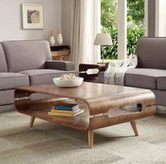 Signa, storage coffee table in a retro style, walnut veneer finish