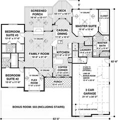 Plan W20067GA: Craftsman, Corner Lot, Ranch House Plans & Home Designs