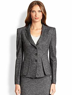 Armani Collezioni Herringbone Jersey Jacket and Pencil Skirt with Jersey Stretch Top