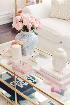 pink decor Around The House: Spring Decor Updates westelm brass coffee table and homegoods accents Brass Coffee Table, Coffee Table Styling, Decorating Coffee Tables, Coffee Decorations, Coffee Table Rose Gold, Pink Decorations, Gold Table, Coffee Table Books, Spring Home Decor