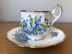 Vintage English Bone China Teacup and Saucer Blue Forget Me