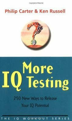 More IQ Testing: 250 New Ways to Release Your IQ Potential (The IQ Workout Series) by Philip Carter. $9.99. http://onemoment4u.org/showme/dpblj/Bb0l0j1t4gAiBaSjOsMa.html. Publisher: Capstone; 1 edition (September 12, 2002). 176 pages. Increase your powers of vocabulary, calculation and logical reasoning with this book of brand new IQ tests.  Each timed test is approximately the same degree of difficulty and consists of a mixture of numerical, dia...