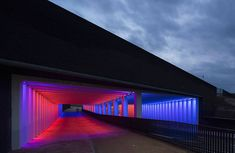 Immersive Light Installation in a Tunnel  Jannes Linders unveils his photographs of colorful light installations of Dutch designer Herman Kuijer established in a tunnel of the historical town of zutphen in the Netherlands located at two different underpasses linking a newly developed area with the traditional town center. For the designer the challenge was to create a visual experience while ensuring users safety.              #xemtvhay