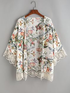 SheIn offers Flower Print Crochet Trim Kimono & more to fit your fashionable needs. Kimono Diy, Kimono Shrug, Mode Kimono, Kimonos Fashion, Fashion Clothes, Fashion Dresses, Hijab Style Dress, Tropical Outfit, Stylish Clothes For Women
