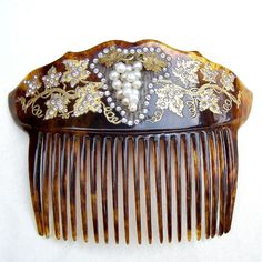 Late Victorian Faux Tortoiseshell Hair Comb with Pearl Grapes Hair Accessory Hair Jewelry Headpiece Headdress Decorative Comb