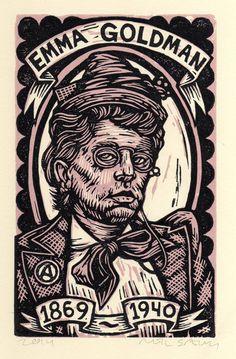 Emma Goldman Linocut  Print Portrait by HorseAndHare on Etsy