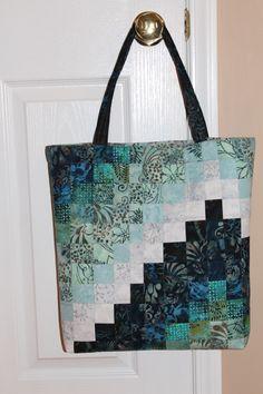 My Bargello Tote Bag - made with batiks & Aurifil thread on Bernina 750QE.