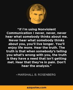 If I'm using Nonviolent Communication I never, never, never hear what somebody…