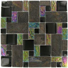 "Elite slate - glass & stone - 12""x12"" glass mosaic in onyx slate by Elida Ceramica, http://www.amazon.com/dp/B004G6VNGY/ref=cm_sw_r_pi_dp_AH0trb1HSQEBN"