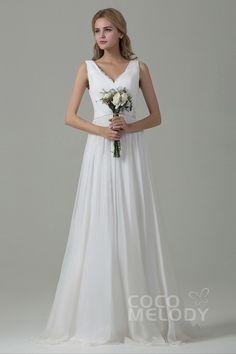 Pretty Sheath-Column V-Neck, Chiffon Sleeveless Zipper Wedding Dress#cocomelody #weddingdresses