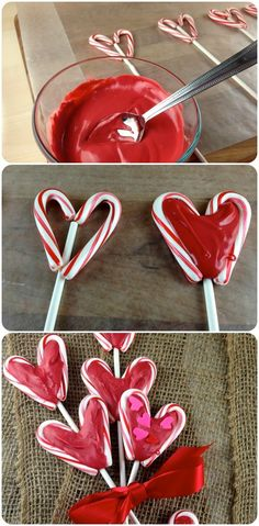 Use left over candy canes to make these sweet treats for Valentines.