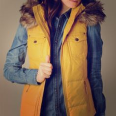 ❄️SALE❄️True Religion Yellow Vest With Fur! True Religion brand, mustard yellow, down puffy vest with hood. Faux fur trim around the hood. Brand new and perfect condition, please note, tags have been removed. True Religion Jackets & Coats Vests
