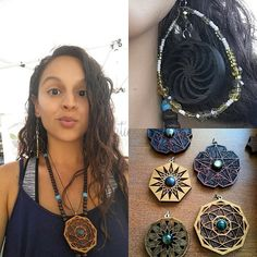 Repost from @ms_chachabizarre looking good with all of our #wearableart!! #lasertrees #laserart #pendant #pendantsofig #earrings #sacredgeometry #handfinished #hardwood