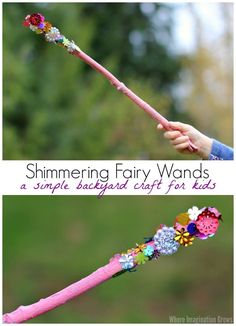 Shimmering Wand Craft for Kids! A simple backyard fairy craft for preschoolers combining craft materials and nature!! Perfect summer craft
