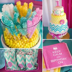 """A summertime bash calls for bright colors and outdoor games, and this first birthday party for adorable little Emily didn't disappoint on either front. Full of candy colors and treats, bold patterns, and plenty of backyard fun, this is one party that's guaranteed to put a smile on your face. """"I found my inspiration to the party when I spotted the invite on Etsy, and I instantly fell in love with the modern chevron pattern and color scheme,"""" says Emily's mom, Jill Hill. """"This was my first…"""