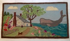 """Rug designed by Marion Ham """"Whale Landing"""" hooked by Marjorie Gilbert Anderson"""
