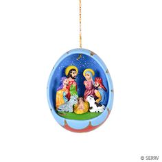 Christmas Ornaments - Ceramic Egg Nativity Ornament