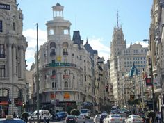 Madrid, Gran Via from Alcal& (Spain). Madrid, Wander, Places To Go, The Past, Spain, Street View, The World, Sevilla, Street