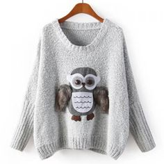 Stylish Scoop Neck Owl Pattern Knitted Long Sleeve Women's Sweater, AS THE PICTURE, ONE SIZE in Sweaters & Cardigans   DressLily.com